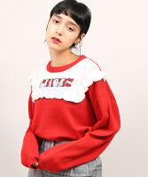 ぷにゅす プニュス | ロゴ刺繍フリルニット