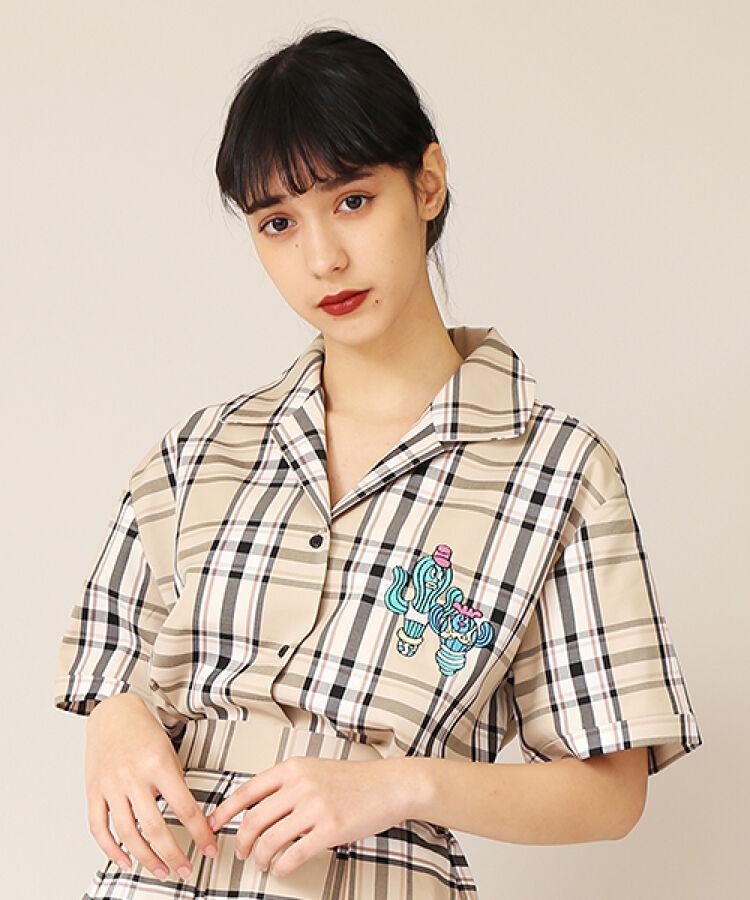 チェック柄サボテン刺繍シャツ